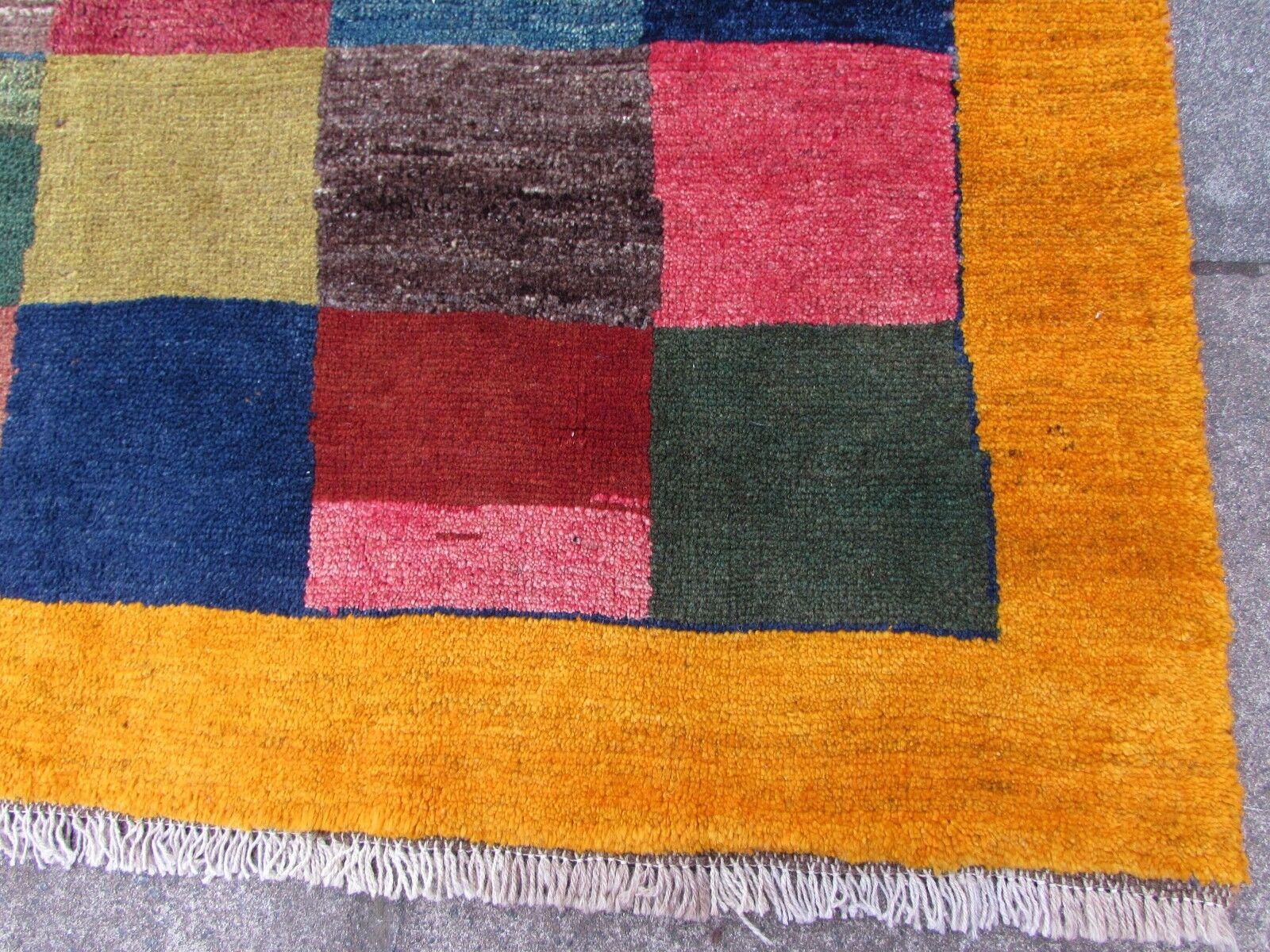 Old Traditional Hand Made Persian Gabbeh Oriental Wool Orange Orange Orange Gold Rug 191x147cm 5fa9af