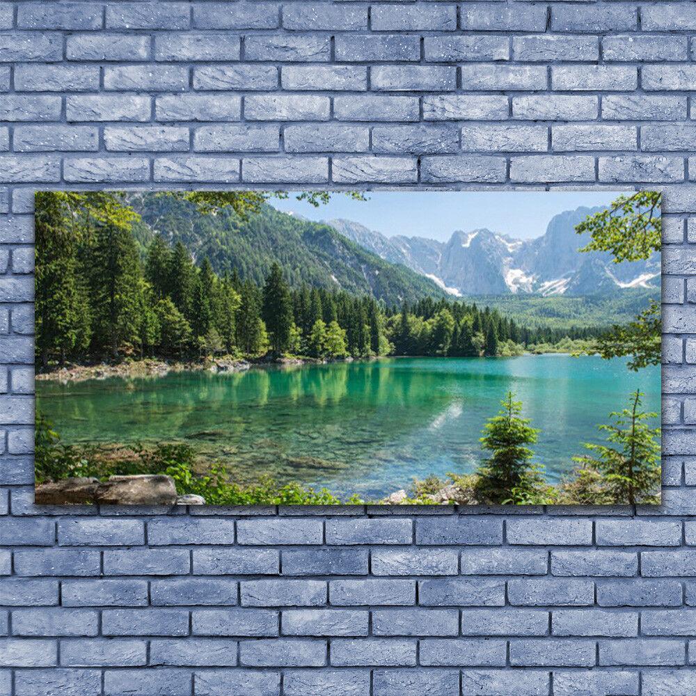 Glasbilder Wandbild Druck auf Glas 140x70 Gebirge See Wald Natur