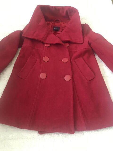 Gap Kids Coat Red Wool Jacket Girls Size S(6-7) Peacoat Double Breasted 2pockets