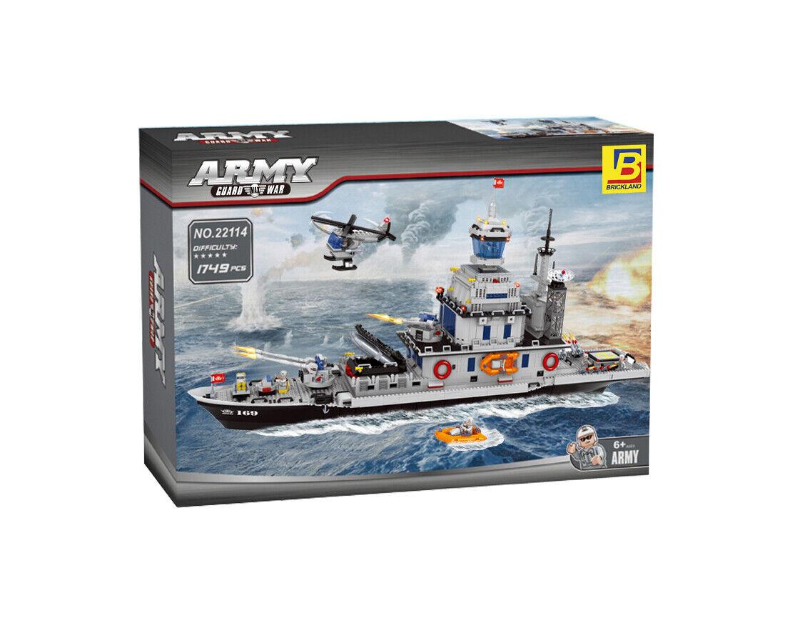 Brickland Military Navy slåssship Missile Destroyer Building Bricks leksak Set