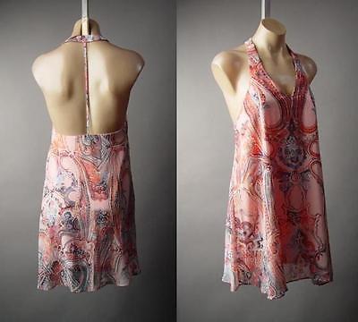 Blush Pale Pink Art Nouveau Pattern T-Strap Back Swing A-Line 227 mv Dress S M L