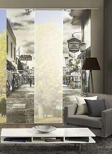 schiebegardinen 3er set digitaldruck city schwarz wei. Black Bedroom Furniture Sets. Home Design Ideas