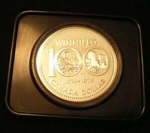 1974 CANADA Winnipeg CENTENNIAL PROOF SILVER DOLLAR COIN