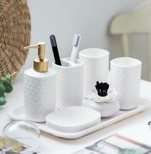 White Bathroom Accessories Set Ceramic Soap Dish Dispenser Toothbrush Holder Ebay