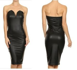47f4242908532 Image is loading FAUX-LEATHER-STRAPLESS-PLUNGING-SWEET-HEART-NECKLINE- BODYCON-