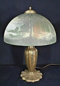 ANTIQUE-VICTORIAN-ART-NOUVEAU-BRASS-LAMP-WITH-HAND-PAINTED-MILK-GLASS-SHADE