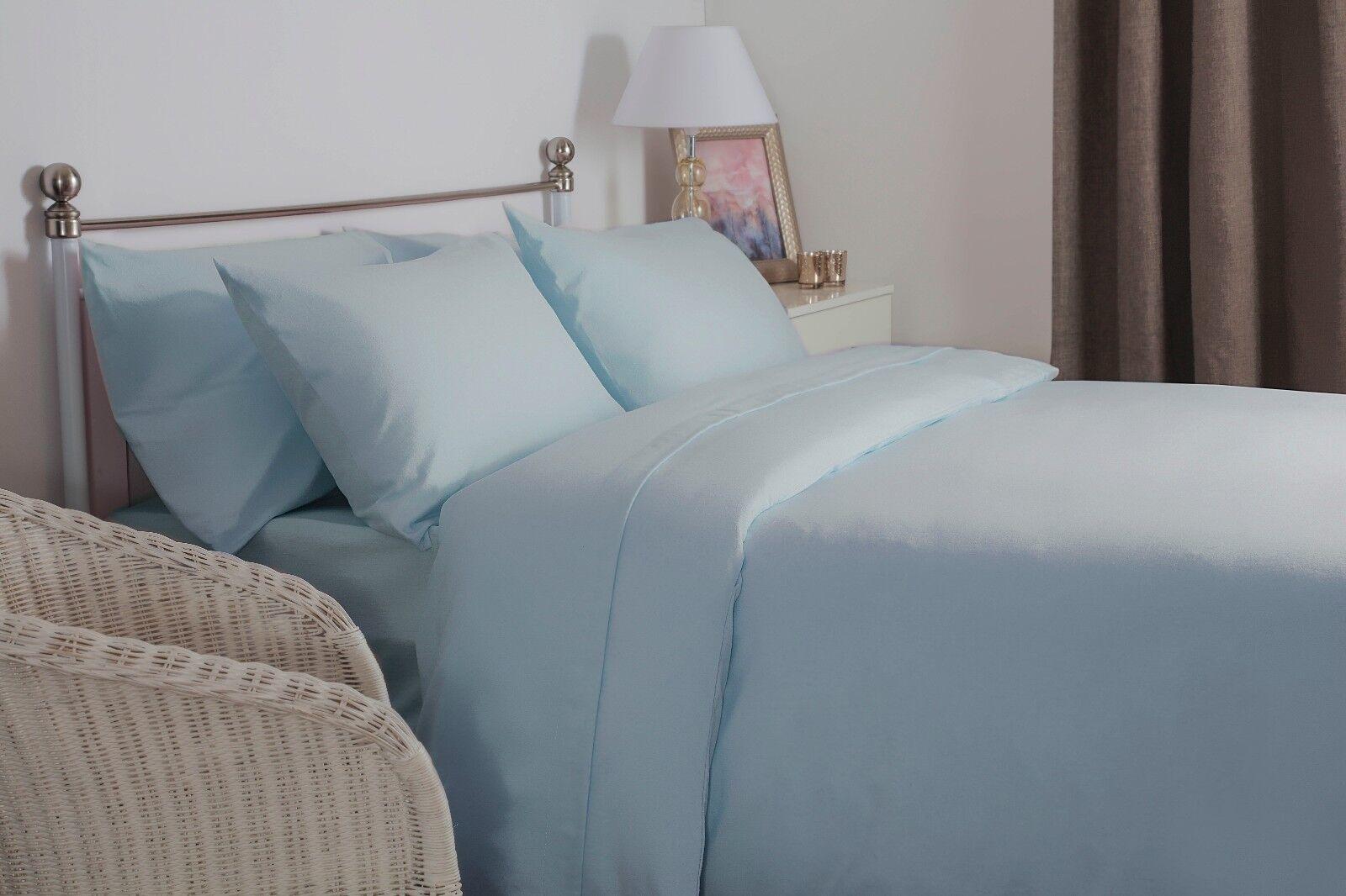 100% Brushed Cotton Plain Flannelette King Größe Duvet Cover Set in Blau