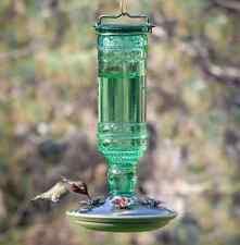Perky-Pet 10oz Antique Green Glass Bottle design Hummingbird Bird Feeder,Outdoor