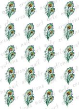 20 Peacock Feather  Water Slide  Nail Art Decals. Colorful feather Nail Decals