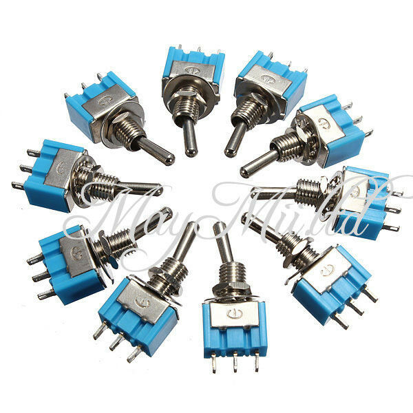 10pcs MTS-102 3-Pin SPDT ON-ON 6A 125VAC Mini Toggle Switches NEW E