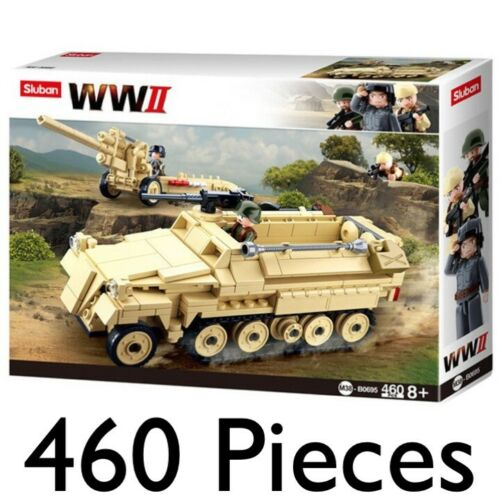 SLUBAN ARMY WW2 GERMAN HALF TRACK 460pcs CONSTRUCTION BUILDING BRICKS TANK 0695