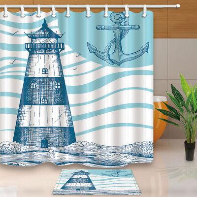"Nautical Anchor Shower Curtain Bathroom Fabric Curtains Liner Set Hooks 71X71/"""