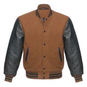Men Leather Sleeve Varsity Jacket Baseball College Letterman Bomber Jacket