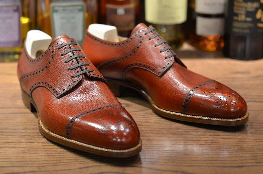 Mens Handmade shoes Grain Tan Leather Oxford Brogue Toe Cap Derby Formal Boots