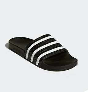 931cebade Image is loading ADIDAS-Black-and-white-slides-shower-shoes-mens-