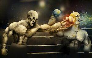Plaque métal combat de boxe  30 X 20 CM