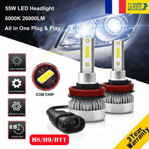 110W-26000LM-H8-H9-H11-LED-Ampoule-Voiture-Feux-Lampe-DRL-Kit-Phare-Blanc-6000K