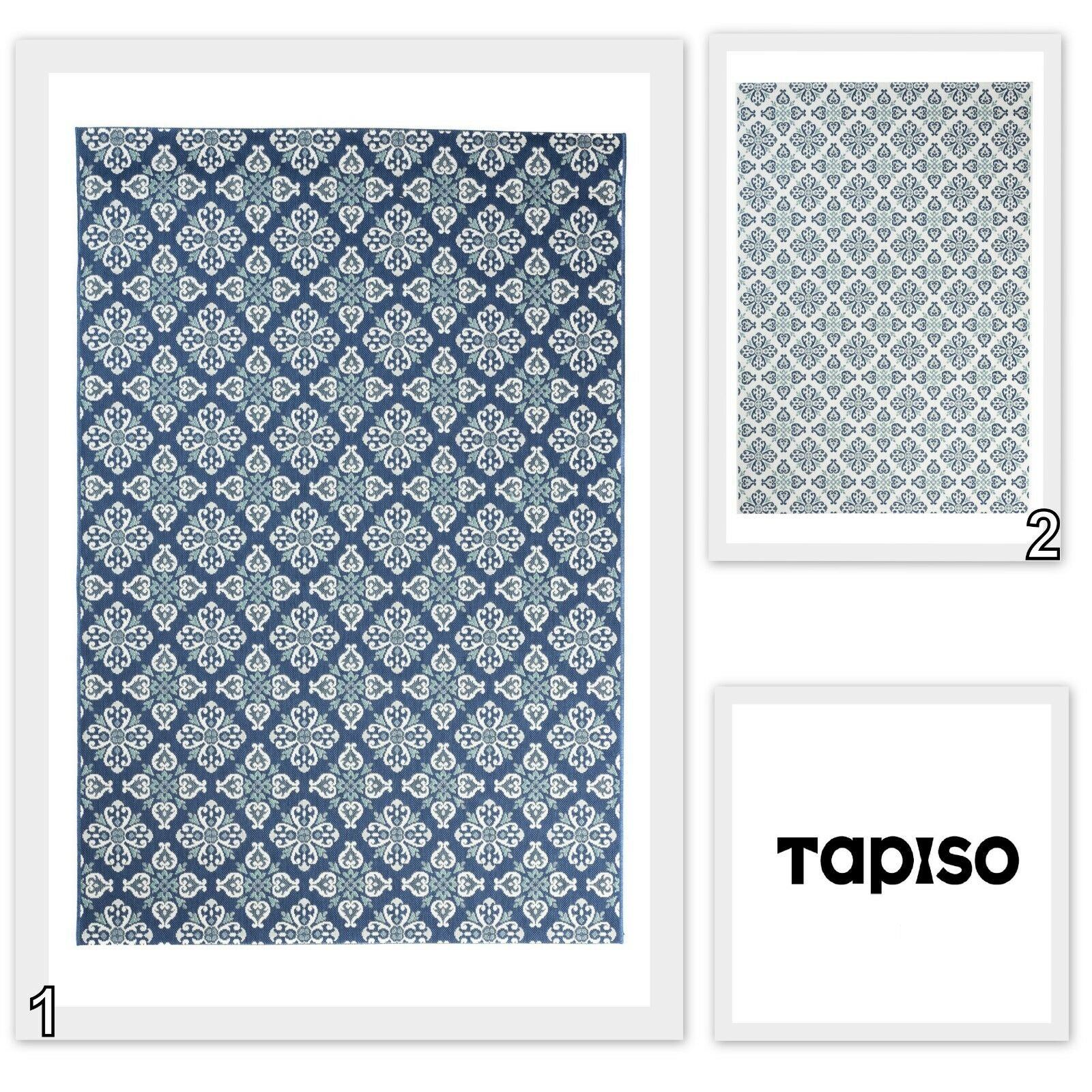 NUOVO Tappeto Moderno Flatweave interni esterni tappetino in sisal Blu sembrare facile da pulire