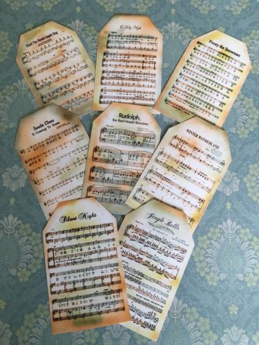 card toppers x8 paper die cuts//bundle joblot Christmas Music Tag Craft clearout