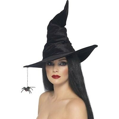 Womans Girls Black Tall Twisty Hat Witch & Spider Halloween Horror Harry Potter