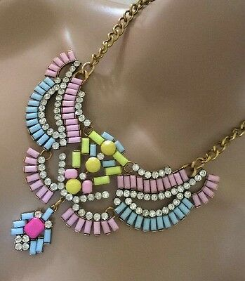 Yellow Pastel Pink Blue Clear Diamanté Indian Jewellery Necklace