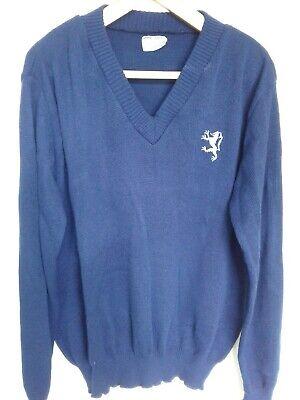 Affidabile Vintage 100% Acrilico V-neck Maglione Da Uomo Griffen Emblema Large Blu Navy Blue-mostra Il Titolo Originale
