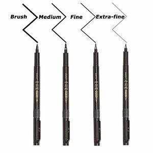 4 Size Black Calligraphy Ink Pen for... Refill Brush Marker Pens for Lettering