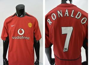 6fc6ff51f 2003-04 NIKE Manchester United Home Shirt Soccer RONALDO Jersey SIZE ...