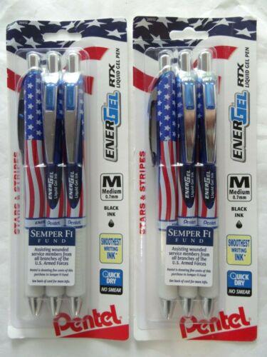 USA American Flag Gel Ink Pen 6 Pentel EnerGel RTX Medium Point Black Ink