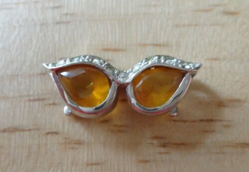 Sterling Argent 23x8mm Topaze Jaune Zircone cubique Fantaisie Lunettes De Soleil Eye Glasses Charm