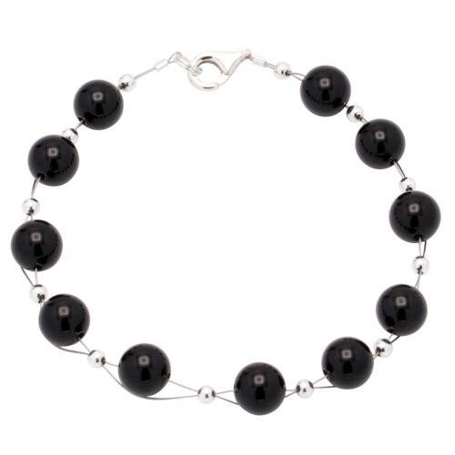 schwarz klassisch Armkette für Damen Armband aus echtem Onyx /& 925 Silber