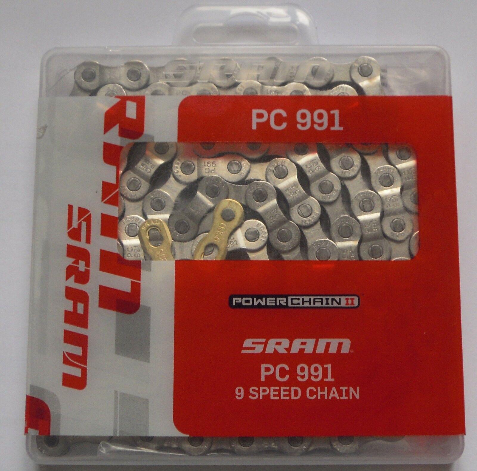 SRAM - Catena SRAM PowerChain PowerChain PowerChain II PC-991 PC 991 114 link 9v s+gold connector-NEW  Vuelta de 10 dias