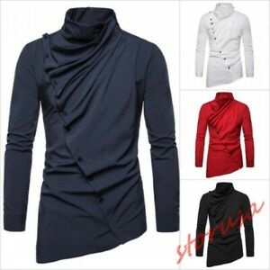 Mens-Turtle-Neck-Long-Sleeve-Casual-Shirt-Slim-Front-Button-Asymmetric-Tee-Solid