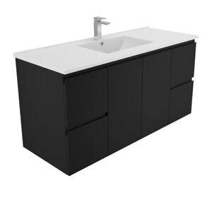 Image Is Loading Black Bathroom Vanity Cabinet 1200mm Amp Ceramic Basin