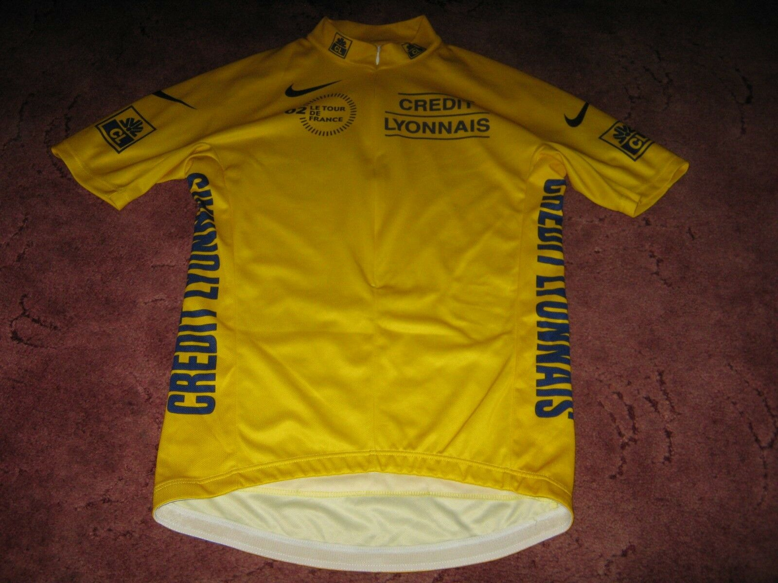 TOUR DE FRANCE 2002 NIKE YELLOW LEADERS CYCLING JERSEY [Medium adult]