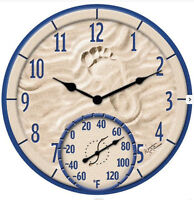Taylor Footprint In The Sand 14 Wall Clock & Thermometer