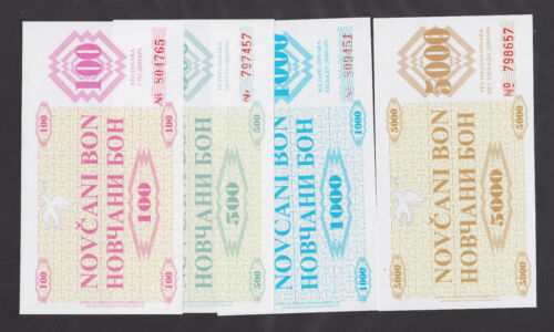 BOSNIA   100,500,1000 /& 5000 Dinara 1992 UNC  Set of 4 notes FALSH all FAKE