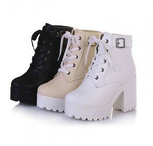 Womens-chunky-heel-platform-lace-up-punk-goth-creeper-ankle-boots-shoes-Causal