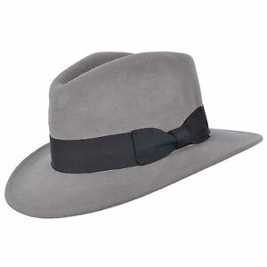 Mens Crushable Indiana 100% Wool Felt Fedora Trilby Hat With Wide ... 5c693b9dd16f