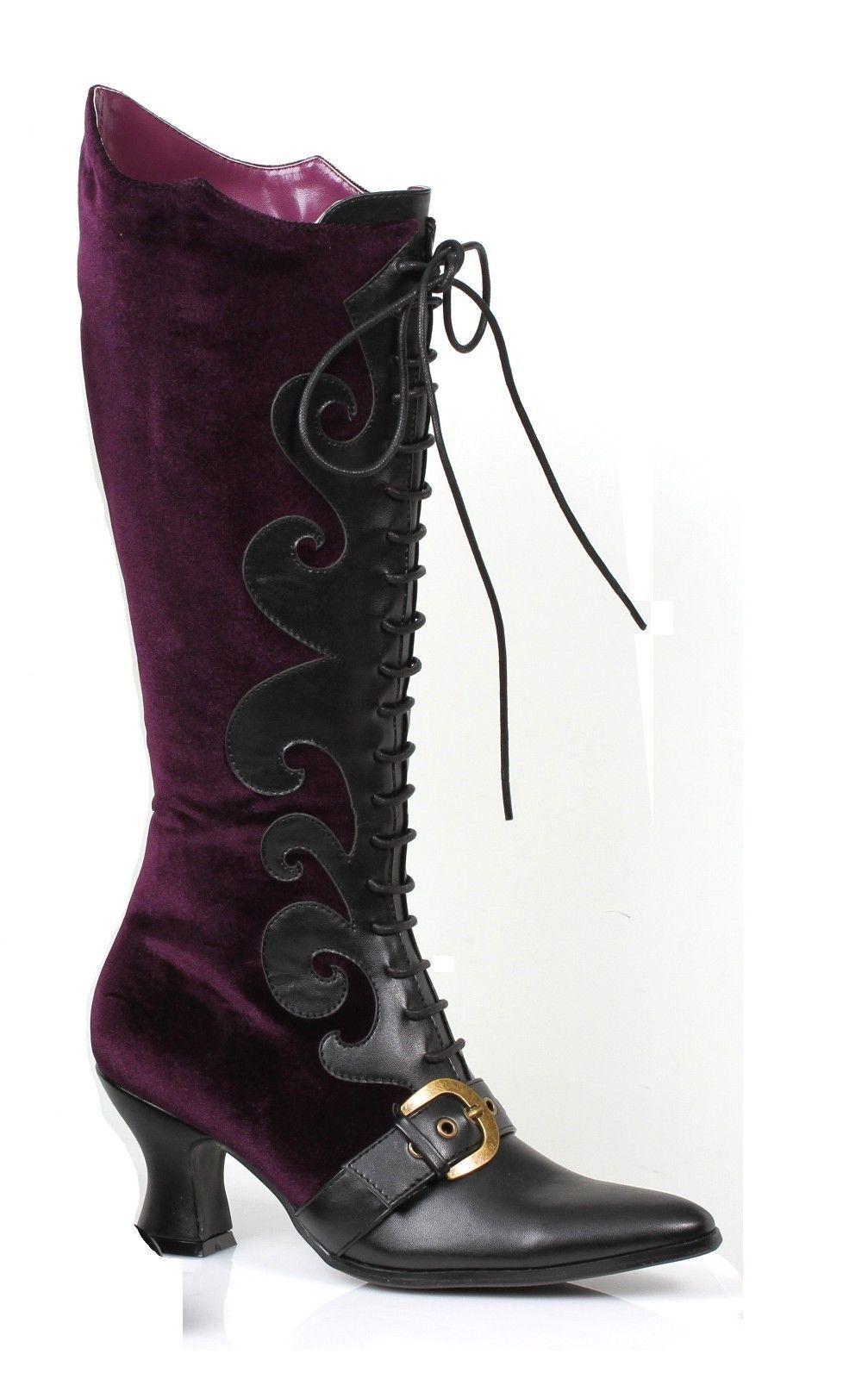 Purple Velvet Witch Maleficent Victorian Costume Lace Stiefel Womans Größe 7 8 9 10