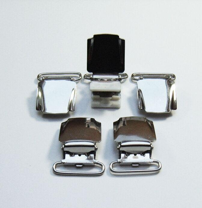 10 silberfarbene preiswerte Hosenträgerclips, Klips,Hosenbundklemme,Clip, 25mm,