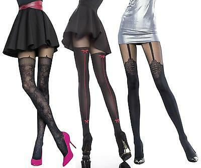 Fiore Temida Patterned Tights Mock Suspender /& Stockings Sheer tops 40 Denier