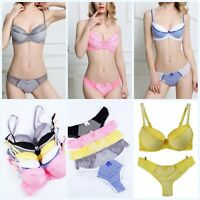 Women Lace Corset Push Up Striped Padded Bra + Panty Bow Briefs G-string Set