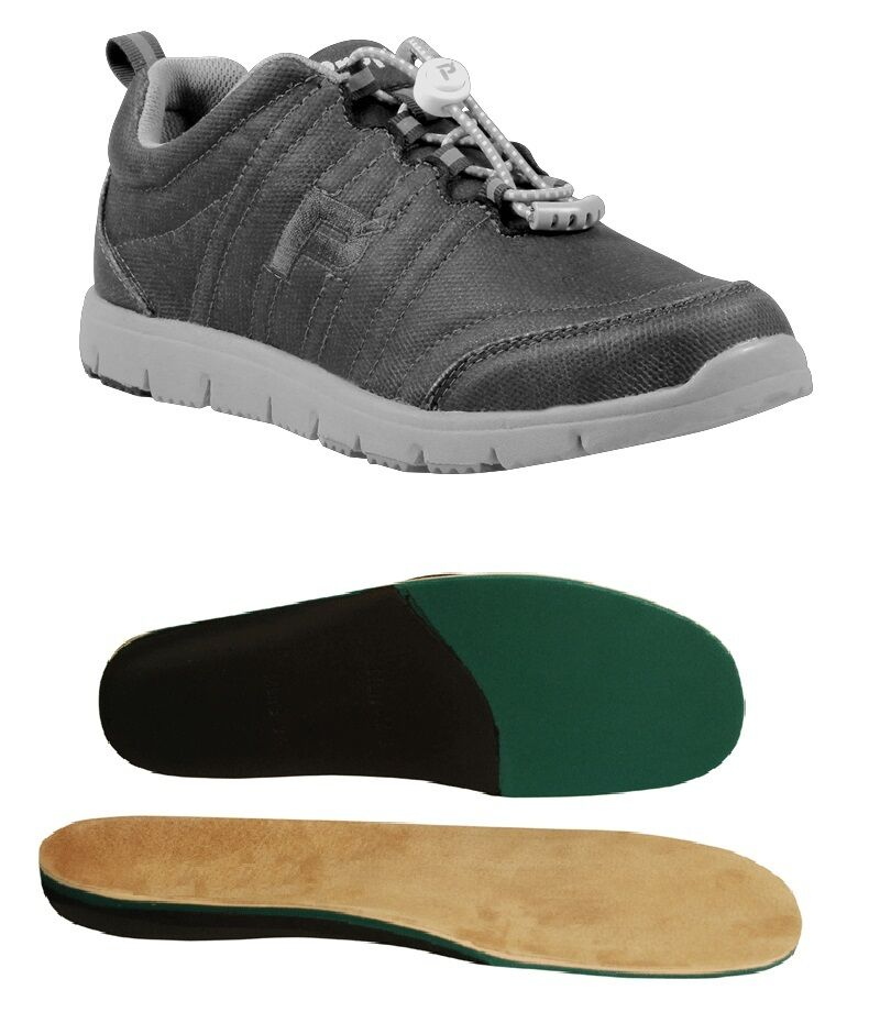 Propet TravelWalker Canvas Charcoal W3259  with Therapeutic Arch Support Insoles