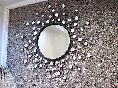 Three Hands Sunburst Starburst Jeweled Round Wall Mirror 31 5 In Ebay