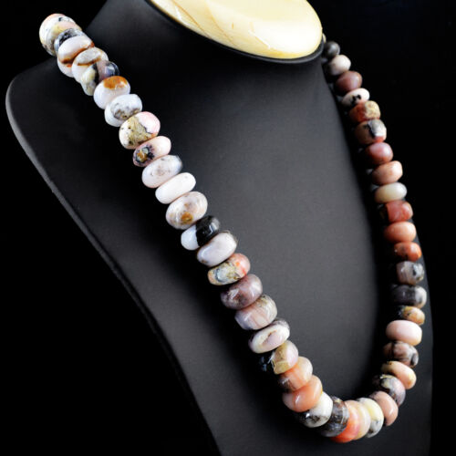 686.00 CTS NATURAL 20 INCHES LONG RICH PINK AUSTRALIAN OPAL ROUND BEADS NECKLACE