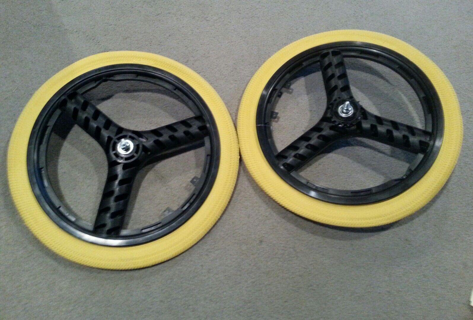 Nuevo 20  MAG Ruedas de 3 radios Amarillo Neumáticos Tubos Para Gt Dyno Haro o BMX Bicicletas