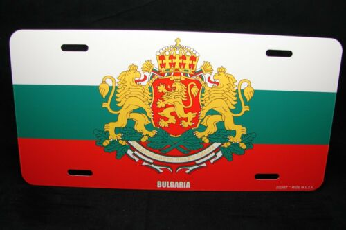 BULGARIA FLAG WITH COAT OF ARMS METAL NOVELTY LICENSE PLATE TAG FOR CARS