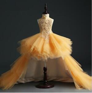 309ee6c6717d3 Details about Gold Lace Girl Wedding Evening Gown Long Trailing Pageant  Princess Party Dress