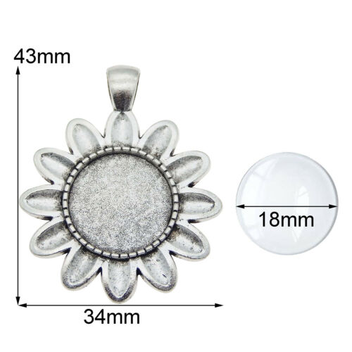 5 Sets Silver Alloy Sunflower Bezel Tray Glass Cabs Pendant Charms Jewelry DIY